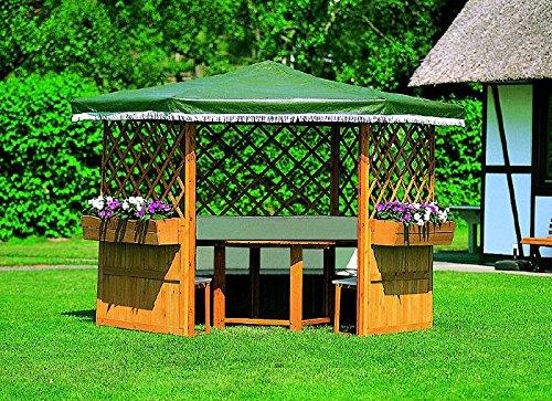 Pavillon MARBURG Gartenlaube ohne Möbel Holzpavillon 309 x 309 x 211 cm