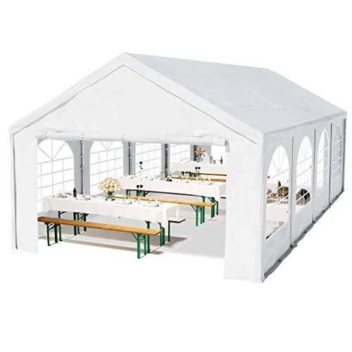 Hochwertiges Partyzelt 4x8 8x4 m Pavillon Zelt 240g/m² PE Plane Gartenzelt Festzelt Bierzelt ! Stahlkonstruktion ! Wasserdicht! Inkl. Seitenteile + Giebelteile ! weiß