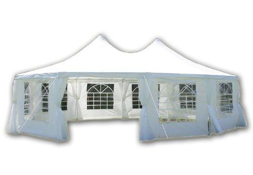 DELUXE Zelt hochwertiges Festzelt Partyzelt Pavillon 8,9x6,5 m weiß mit Seitenteilen für Garten Terrasse Feier Markt als Unterstand Plane wasserdicht PE Dach 270 g/m² mit PVC-coating