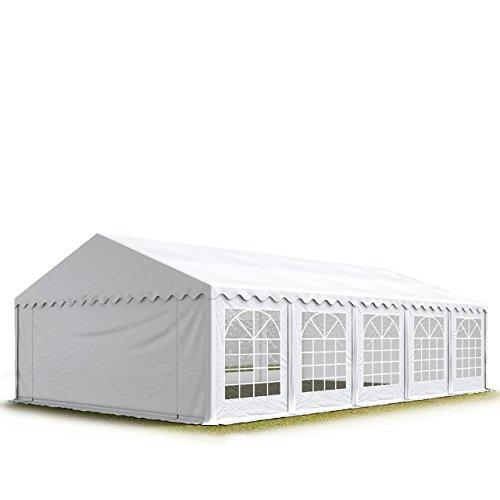 PROFIZELT24 Party-Zelt Festzelt 5x10m Garten-Pavillon -Zelt mit Fenstern, hochwertige 500g/m² PVC Plane in weiß, 100% wasserdicht, vollverzinkte Stahlkonstruktion mit Verbolzung