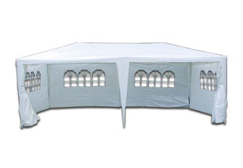 PE-Pavillon Partyzelt mit 4 Seitenteilen und 2 Eingängen für Garten Terrasse Feier oder Fest als Unterstand Plane 110g/m² wasserdicht 3 x 6 m weiss