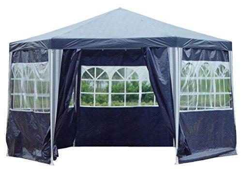 Kronenburg Pavillon PE Gartenzelt 6-Eck mit 6 Seitenteilen in Blau