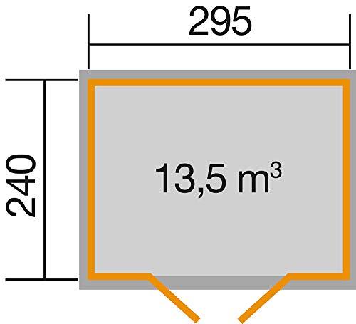 Weka Gartenhaus 219 Größe 2, 28 mm, Flachdach mit wekaLine, ET, naturbelassen, 278 x 320 x 218 cm, 219.3024.70041 - 3