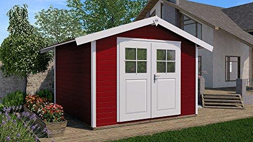 Weka Gartenhaus, 122, 28 mm, V20 cm, DT, rot, 380x276x249 cm, 122.3024.43001
