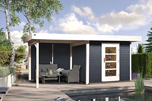 Weka Gartenhaus, Designhaus 172 B Größe 1, 28 mm, ET, Anbau 300 cm ohne RW, anthrazit, 575x314x226 cm, 172.2424.46201