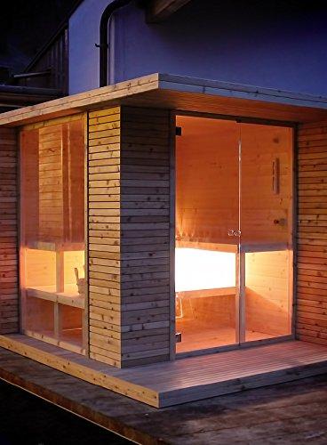 grandform Sauna Garten mit elektrische Raumheizung oder Holzofen Outside Pro (cm. 280x 200x 208H.)