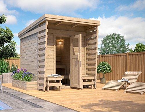 ISIDOR Outdoorsauna Saunakabine Sauna 2x2m Massivholz Pultdach (ohne HARVIA BC80 aber mit Fußboden)