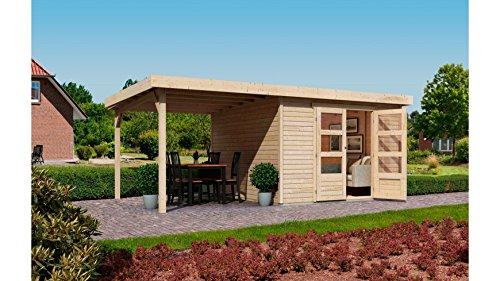 KARIBU Gartenhaus »Arnis 4« mit seitlichem Schleppdach (ca. 220cm) natur