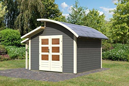 Karibu Gartenhaus Almelo mit Schleppdach terragrau 28 mm
