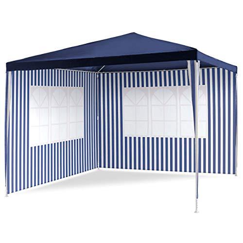 PE-Pavillon Partyzelt mit 2 Seitenteilen für Garten Terrasse Markt Camping Festival als Unterstand und Plane, wasserdicht 3 x 3 m blau