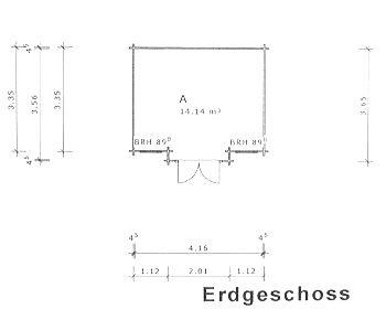 Gartenhaus Moormerland Blockhaus 425cm x 365cm – 45mm Gartenlaube Holzhaus Holzlaube - 2