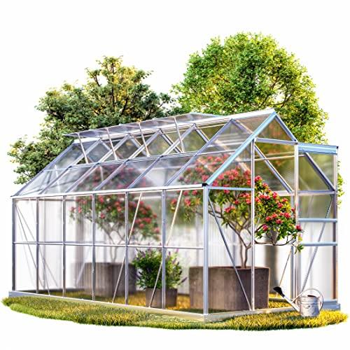 Gewächshaus 11,73m³ Alu Treibhaus Gartenhaus Pflanzenhaus Tomatenhaus Aufzucht Frühbeet
