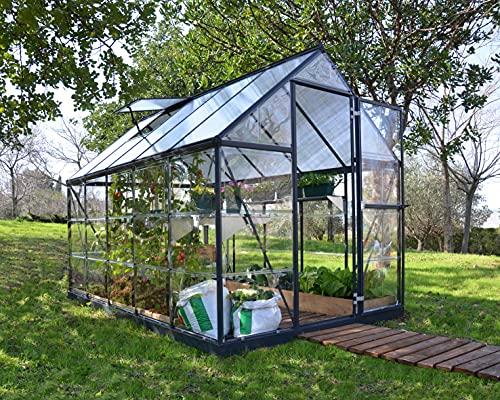 Palram Aluminium Gewächshaus Gartenhaus Hybrid 6x10 // 310x185x209 cm (LxBxH); Treibhaus & Tomatenhaus zur Aufzucht