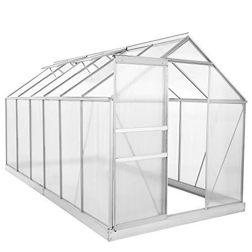 Zelsius - Set: 7,2 m² Aluminium Gewächshaus + Fundament, Garten Treibhaus, 380 cm x 190 cm, 6 mm Hohlkammerstegplatten, inkl. Fundament