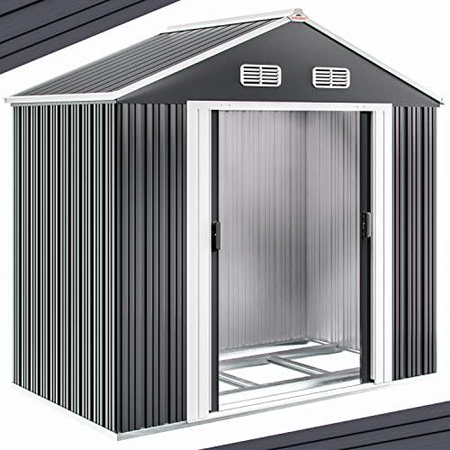 Gerätehaus Metall verzinkt 4,51m³ inkl. Schiebetüren und Fundament Geräteschuppen Gerätehaus Metallgerätehaus
