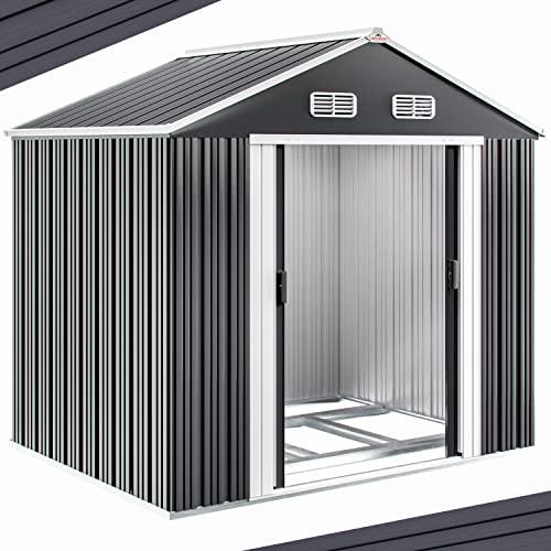 Gerätehaus Metall verzinkt 8,38m³ inkl. Schiebetüren und Fundament Geräteschuppen Gartenhaus Metallgerätehaus