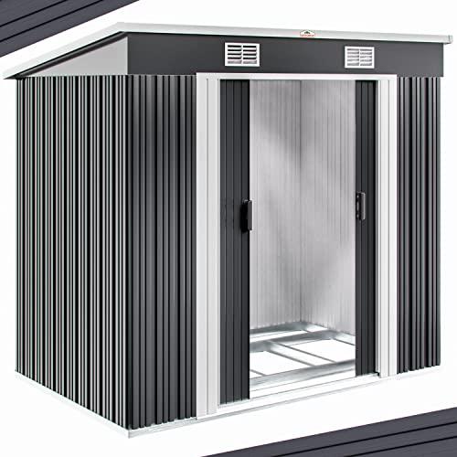 Gerätehaus Metall verzinkt 3,35m³ inkl. Schiebetüren und Fundament Geräteschuppen Gartenhaus Metallgerätehaus